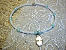 """Hand Crafted WHITE Bead """"Imagine"""" Charm Memory Wire Cuff Small ANKLET Beach K-24"""