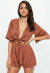 Missguided Orange Rust Kimono Jumpsuit (Size: 10)