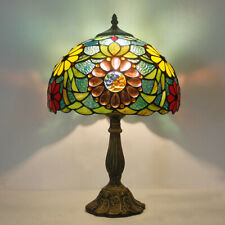 "Dia 11.81"" Tiffany Style Beads Flower Stained Glass  Table Reading Lamp"