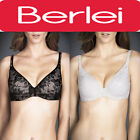 BERLEI WOMENS LADY BARELY THERE LACE CONTOUR BRA BLACK & SOFT POWDER IVORY Y238S