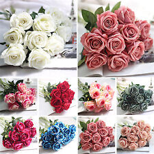fab 12 head artificial fake roses silk flower wedding home bridal bouquet decor
