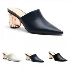 Women Solid Color Casual 6cm Mid Heel Slipper Pointy Toe Mules Shoes Party Date