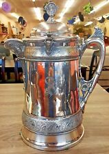 Antique WM Wilson & Son 1930 Silver Plate Porcelain Insert Ornate Pitcher