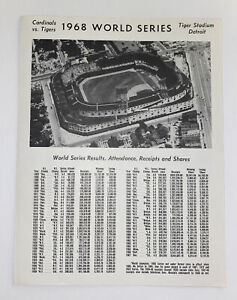 Vintage 1968 World Series Gm5 scorecard Detroit Tigers/St Louis Cardinals