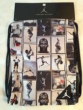 Nike JORDAN  Drawstring Bag Backpack Gym Sack Side Pocket JUMPMAN 23 Black Sz OS
