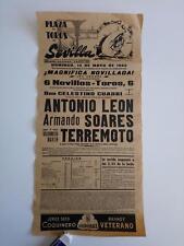 1962 Cartel Plaza de Toros Sevilla Antonio Leon Armando soares Terremoto Martin