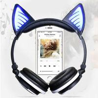 Women Girls Foldable Cat Ear LED Music Lights Headphones Gaming Headset Earphone