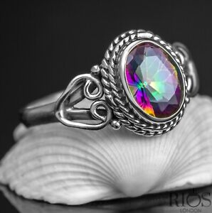 Beautiful 925 Sterling Silver Mystic Fire Topaz Gemstone Love Heart Ring Boxed
