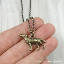 Bronze Howling Wolf Charm Necklace - Werewolf Coyote Pendant Jewerly NEW