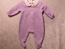 Gymboree Pleated Lavender Floral Pointelle Footed Romper, 3-6 mos.