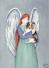 Blue Merle Sheltie (shetland sheepdog) with Angel / Lynch signed folk art print