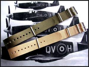 NATO ® watchband strap 22mm Green Tan G10 2pak RAF Bonded IW SUISSE 16 18 20 24