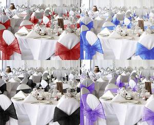 Bow Organza Sashes Chair Cover Sash Wedding Banquet Decors 10/25/50/100Pc 6