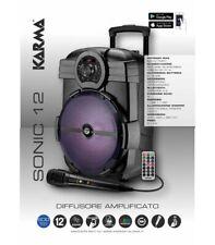 KARMA SONIC 12 CASSA PORTATILE A BATTERIA 12'' 600W USB MP3 RADIO FM CON LED MIC