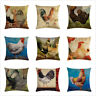 Rooster Throw Pillow Cover Animal Realistic Chicken Cotton Linen Cushion Cover
