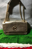 Michael Kors Fulton Gold Leather Chain Credit Card Flap Snap ShoulderBag Hobo
