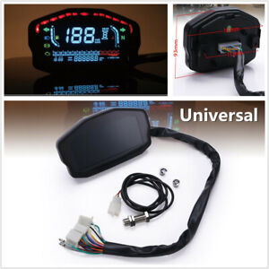 Motorcycle LCD Speedometer Digital Odometer MPH Gear Indicator for 2 4 Cylinder