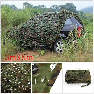 3m x 5m Hunting Camping Jungle Camouflage Net Mesh Woodlands Military Camo Green
