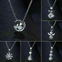 Fashion 925 Silver Zircon Crystal Pendant Necklace Women Elegant Jewelry Gift