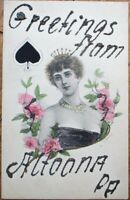 Playing Card 1905 Artist-Signed Postcard w/Queen of Spades/Glitter - Altoona, PA