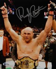Randy Couture Autographed UFC 8x10 Photo With Belt- Beckett Auth *Silver