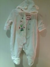 Mamas & Papas White Snowsuit Bear All in One 3/6 Months < T910