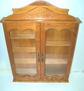 Wooden Wall Cabinet 2 Real Glass Doors Display-Curio Cabinet Adjustable Shelves