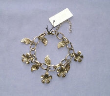 "Silver Coloured Metal Chain Flowers & Leaves 10"" Charm Bracelet / Anklet"