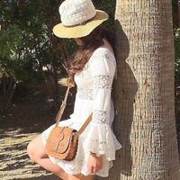 Free People  Size 6 S  Pippa Gauze Crochet Fit Flare Babydoll Ivory Dress 3768