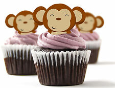✿ 24 Edible Rice Paper Cup Cake Toppings, Cake decs - Monkey faces ✿