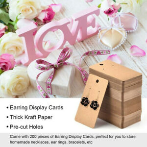 100Pcs 5x9cm Kraft Paper Blank Jewelry Display Card Cardboard Earring Craft New