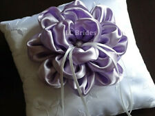 Wedding Ring Bearer Pillow, Lavender Flower, White, Lavender, Embroider