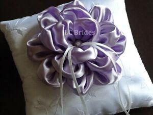 Wedding Ring Bearer Pillow, Lavender Flower, White, Lavender, Embroider