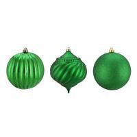 "Northlight 3ct Green 3-Finish Shatterproof Onion Ball Christmas Ornaments 4.75"""