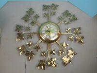 Vintage United Mid Century WALL CLOCK starburst Maple leaf