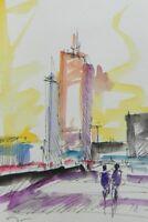 JOSE TRUJILLO ORIGINAL Watercolor Painting City Urban Buildings Street 7x10 NEW