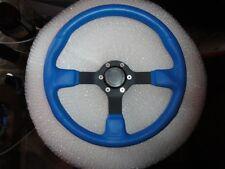 Gussi Boat Steering Wheel  Blue Vinyl with Black Anodize Spoke & Billet Hub