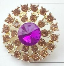 2 x Gold Grade A Purple Rhinestone Crystal Round Shank Buttons Sewing 25mm M0255