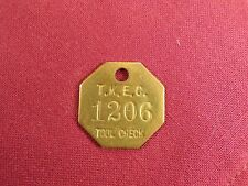 Vintage Tool Check Brass Tag ID T.K.E.C. West Michigan