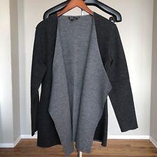 EILEEN FISHER Sz S / P Charcoal Gray Merino Wool Open Cascading Cardigan Sweater