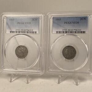 1865 US Mint 3 Cent Nickle Coins (Two items) PCGS VF25 & VF30