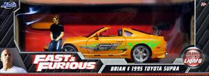 1995 Toyota Supra Fast & Furious + Brian Figure & Lights 1:18 Jada Toys 31139