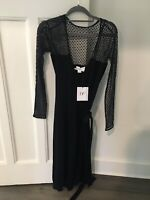 DIANE VON FURSTENBERG Black & Lace Wrap Dress With Slip Size 6 US NEW WITH TAGS