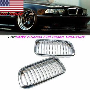 For BMW E38 740/750 7 Series Sedan 94-01 Pair Chrome Front Bumper Kidney Grille