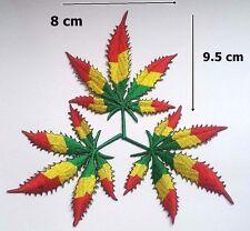 3 pcs Pot Leaf Ganja Marijuana Weed Rasta Colors Retro Boha Hippie Iron-On Patch