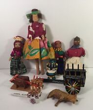 RARE! Antique Hand Carved Wood Dolls W/ Carts And Animals.