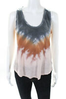 YFB Womens Linen Tie Dye Scoop Neck Tank Top Multi Colored Size Extra Small