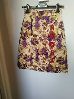 Dolce&Gabbana Gold And Purple Jacquard A Line Skirt With Red Amore Letters D&G 6
