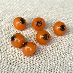 """Lot of 6 Antique Genuine Coral Brass Chinese China Buttons 12mm 3/8"""""""