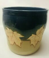 BLUE MOON POTTERY LARGE STONEWARE UTENSIL CROCK PLANTER POT W MAPLE LEAVES MINT!